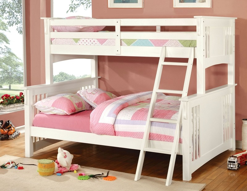 TWIN FULL BUNK BED WHITE FINISH