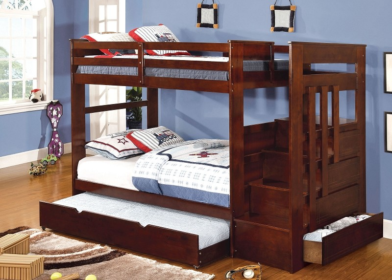 TWIN/TWIN BUNK BED  DARK WALNUT (TRUNDLE SOLD SEPARATELY)