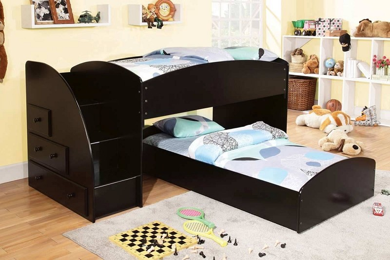 TWIN/TWIN BUNK BED IN BLACK