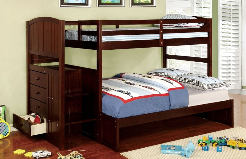 FURNITURE OF AMERICA, TWIN/FULL BUNK BED + 4 DRAWERS  ESPRESSO, CM-BK922F-EX