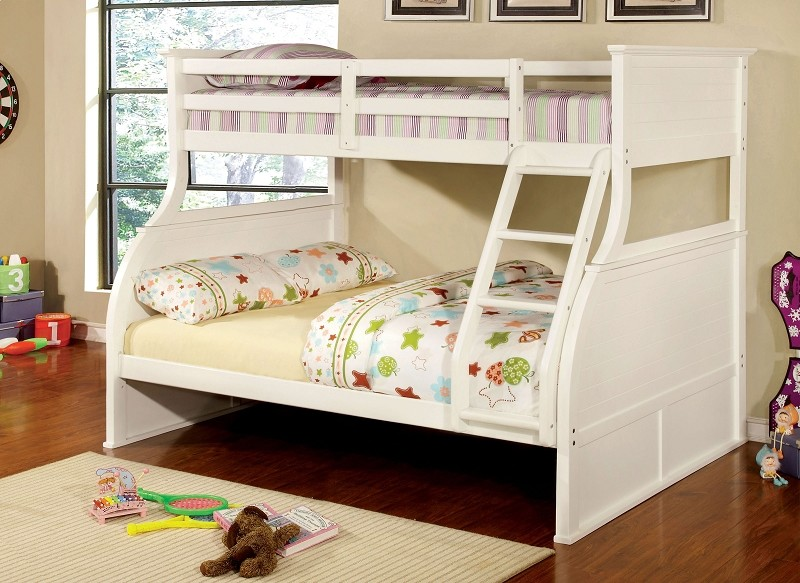 FURNITURE OF AMERICA CANOVA BRAND NEW TWIN / FULL BUNK BED, CM-BK923WH