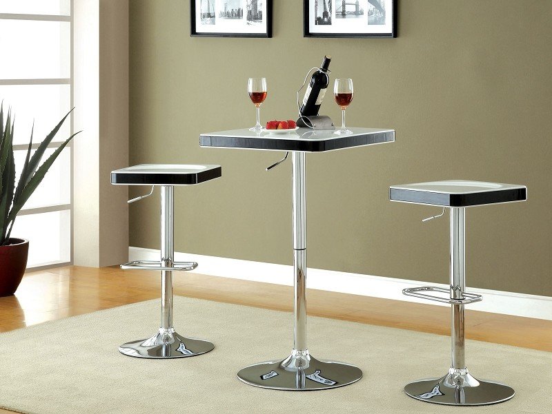 3PCS SET SWIVEL  BAR TABLE+2 SWIVEL STOOL WHITE TOP