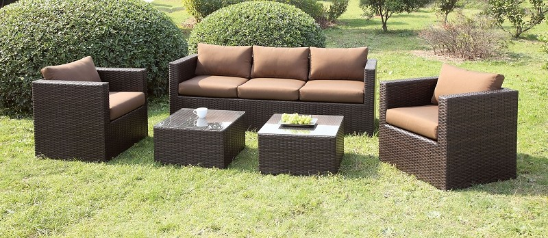 5 PCS PATIO SET WITH BROWN CUSHIONS + 2 PC END TABLES