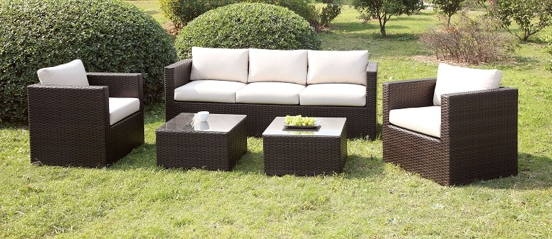 5 PCS PATIO SET WITH IVORY CUSHIONS + 2 PC END TABLES