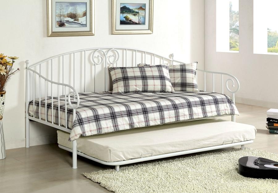 Furniture of america hamden twin twin daybed white metal for Furniture of america daybed