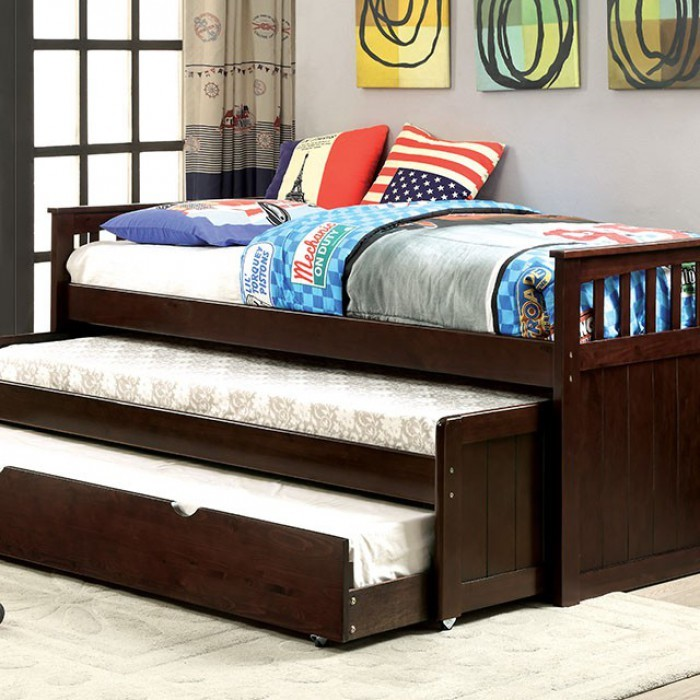 FURNITURE OF AMERICA GARTEL ESPRESSO DAYBED W/ 3 TWIN BEDS, CM1610