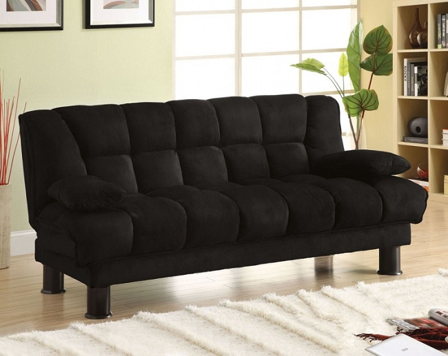 Furniture Of America Bonifa Black Microfiber Sofa Bed Cm2150