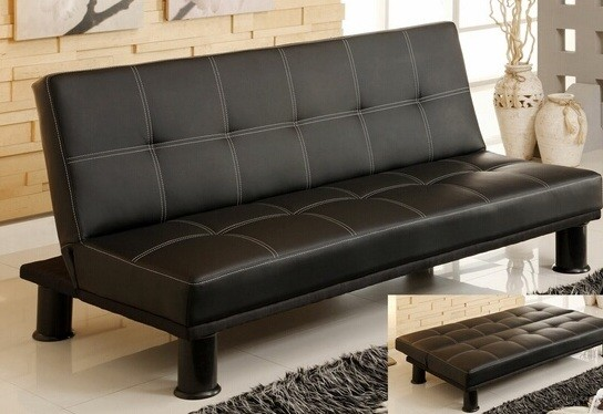 QUINN ADJUSTABLE FUTON SOFA BLACK PU