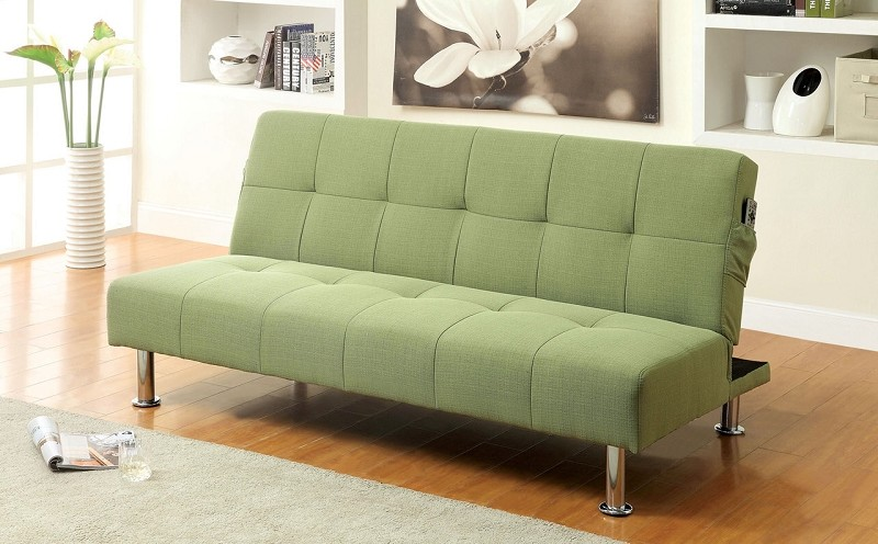 FUTON SOFA WITH SIDE POCKET GREEN