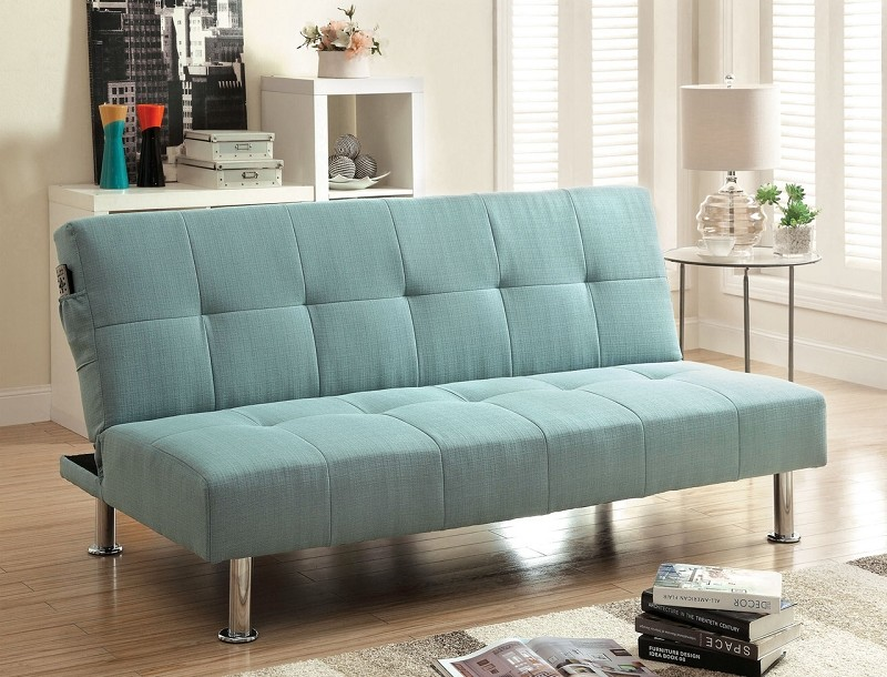 FUTON SOFA WITH SIDE POCKET BLUE