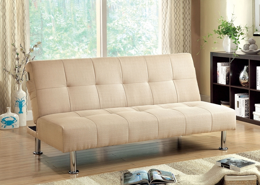 FURNITURE OF AMERICA FUTON SOFA WITH SIDE POCKET IVORY., CM2679IV