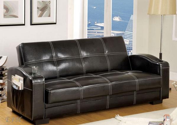 Furniture Of America Colona Futon Sofa Cup Holders Side Magazine Pockets Storage Black Finish Cm2690