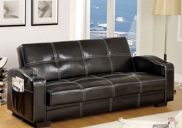 COLONA FUTON SOFA+CUP HOLDERS+SIDE MAGAZINE POCKETS+STORAGE BLACK FINISH