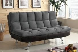 TIGRAY ADJUSTABLE FUTON SOFA MICROFIBER DARK GRAY