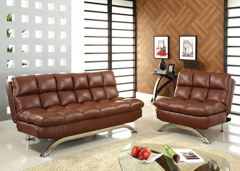2 PCS  FUTON SOFA AND CHAIR  SADDLE BROWN FINISH