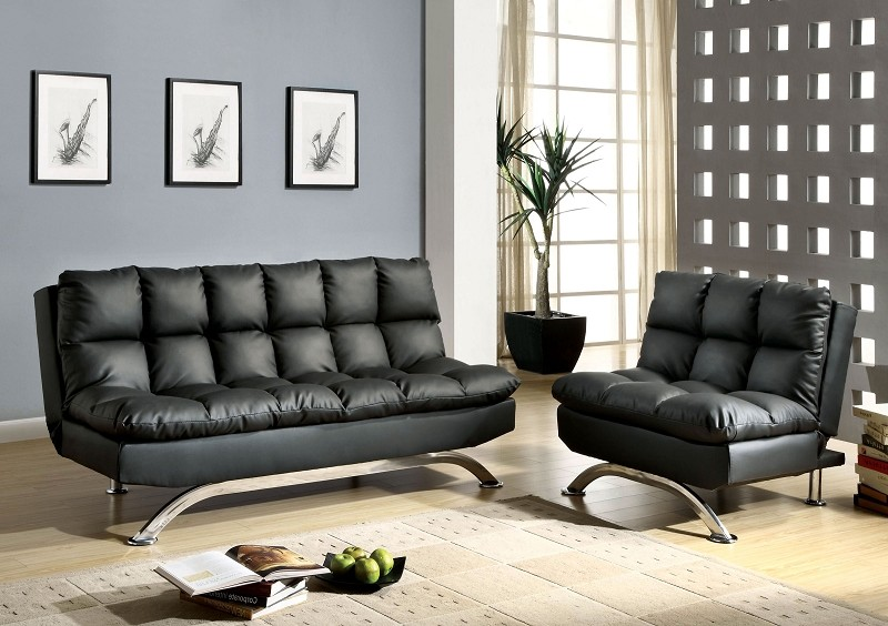 2 PCS  FUTON SOFA AND CHAIR  BLACK FINISH