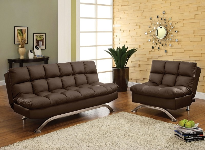 2 PCS  FUTON SOFA AND CHAIR  DARK BROWN FINISH