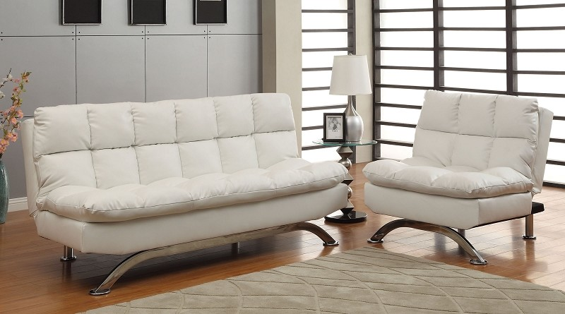 2 PCS  FUTON SOFA AND CHAIR  WHITE FINISH