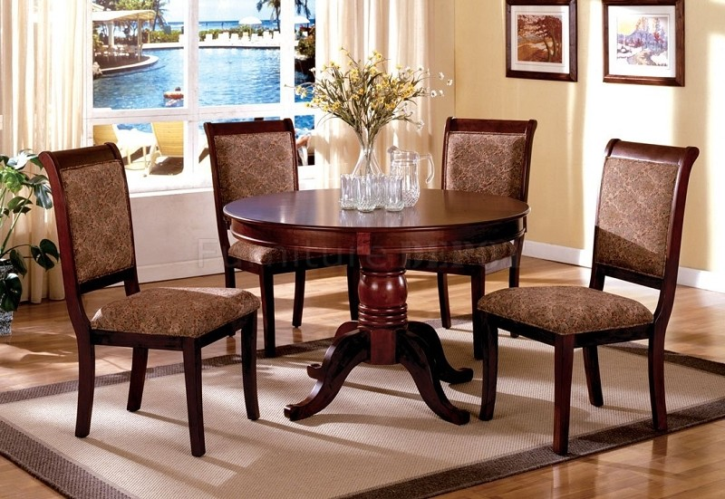 5PCS DINETTE SET ROUND TOP TABLE + 4 SIDE CHAIRS