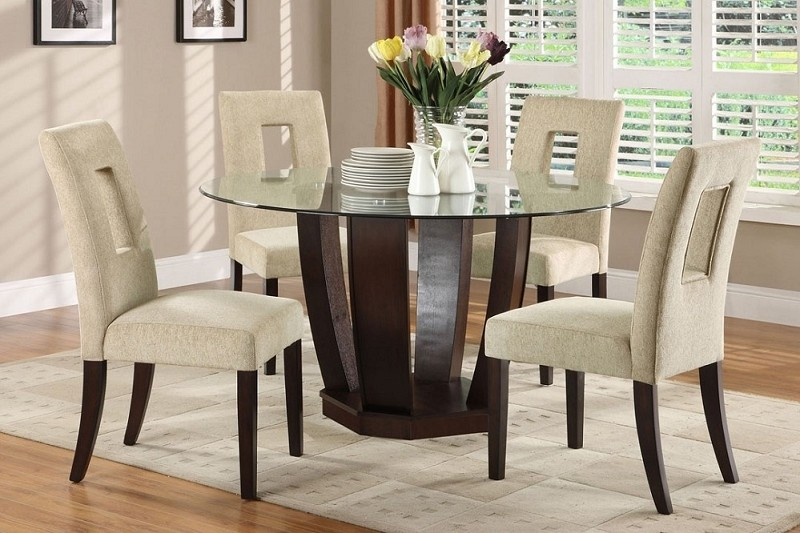 5PCS DINETTE SET ROUND GLASS TOP  + 4SIDE CHAIRS