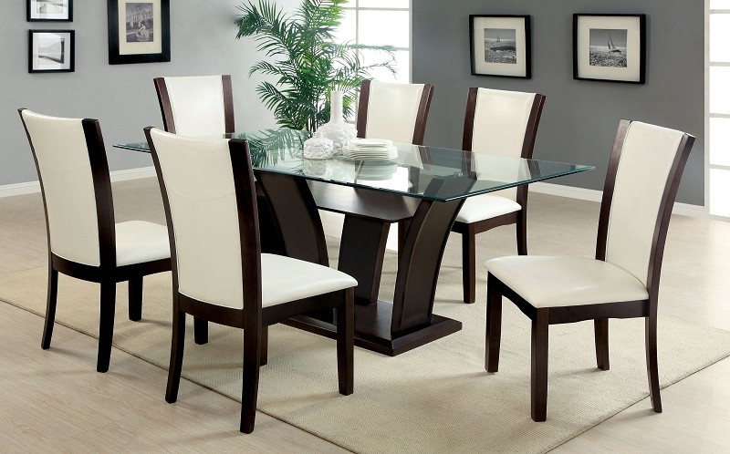 7PCS DINETTE SET GLASS TOP TABLE + 6 SIDE WHITE CHAIRS