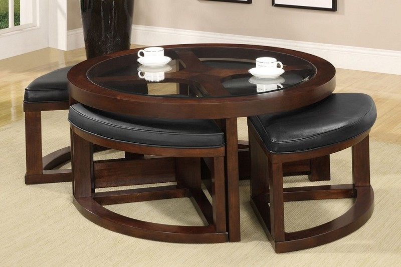 FURNITURE OF AMERICA, ROUND COFFEE TABLE+4 WEDGE SHAPED OTTOMANS, CM4321