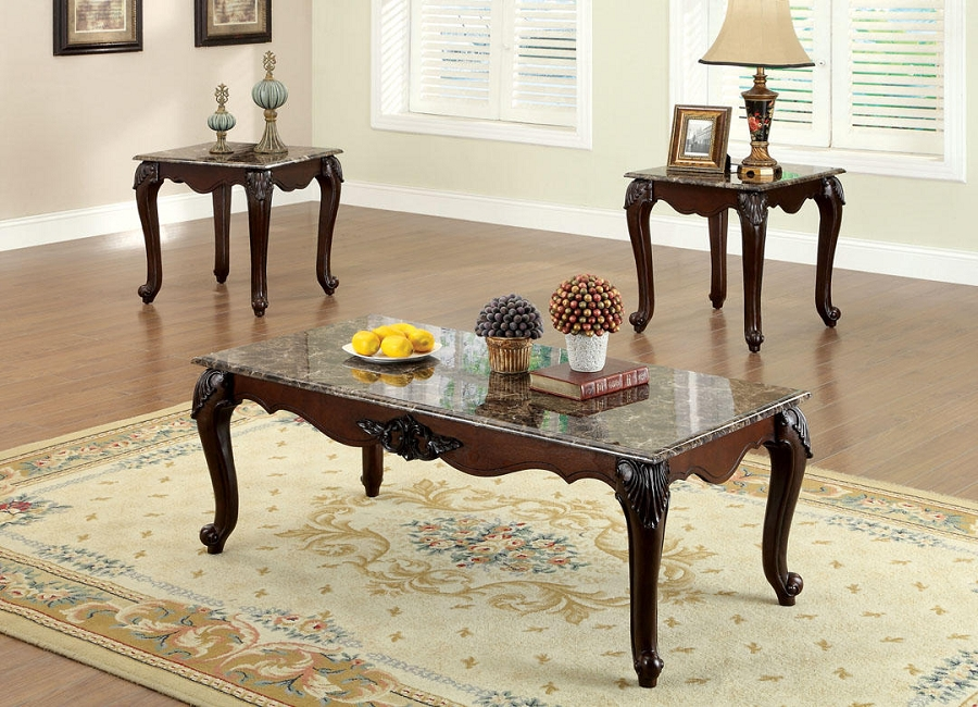 COLCHESTER 3PCS SET TABLES, COFFEE TABLE+2 END TABLES, DARK CHERRY FINISH