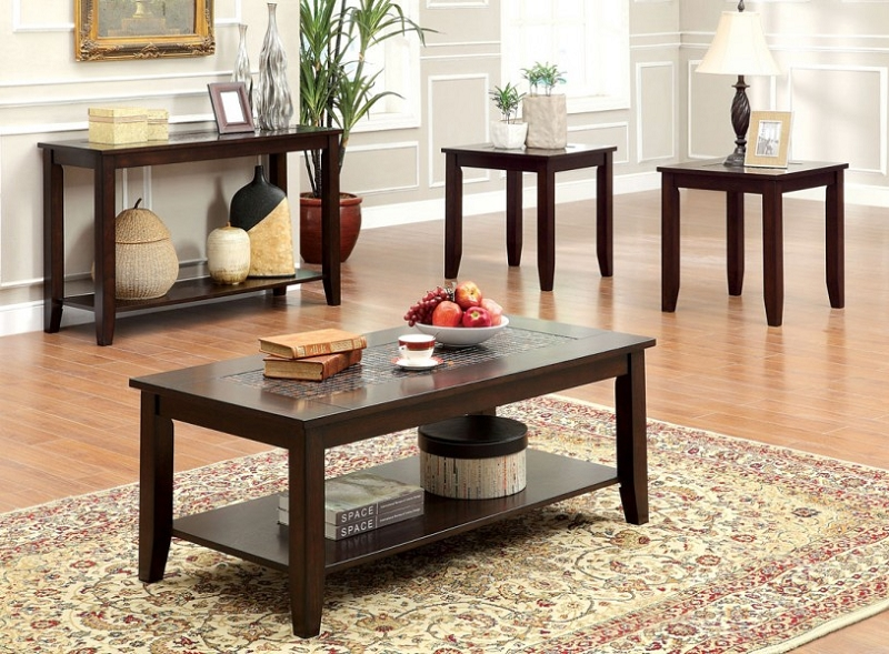 Furniture of america 3pcs set tables 1 coffee table 2 for Furniture of america coffee table sets