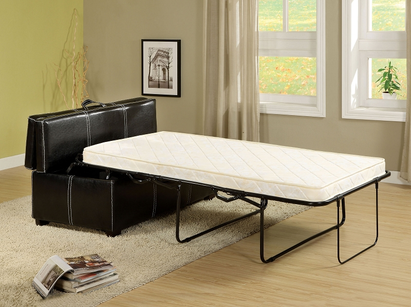 Ottoman In Black With Pull Out Bed