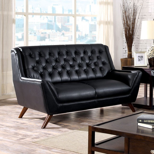 BLACK BONDED LEATHER BUTTON TUFTED LOVE SEAT