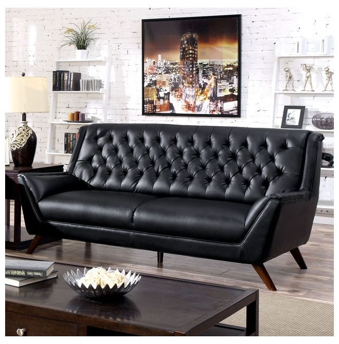 Black Bonded Leather Button Tufted Sofa