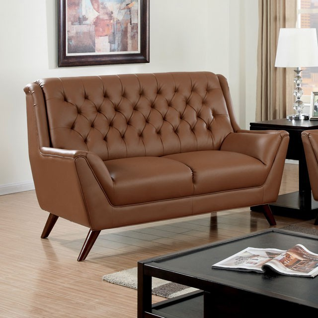 CAMEL BONDED LEATHER BUTTON TUFTED LOVE SEAT