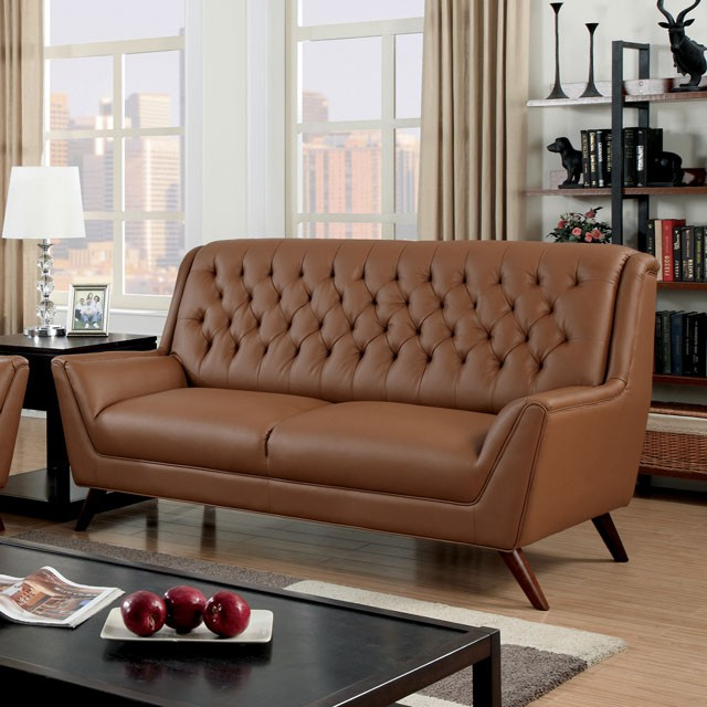 Bonded Leather Button Tufted Sofa