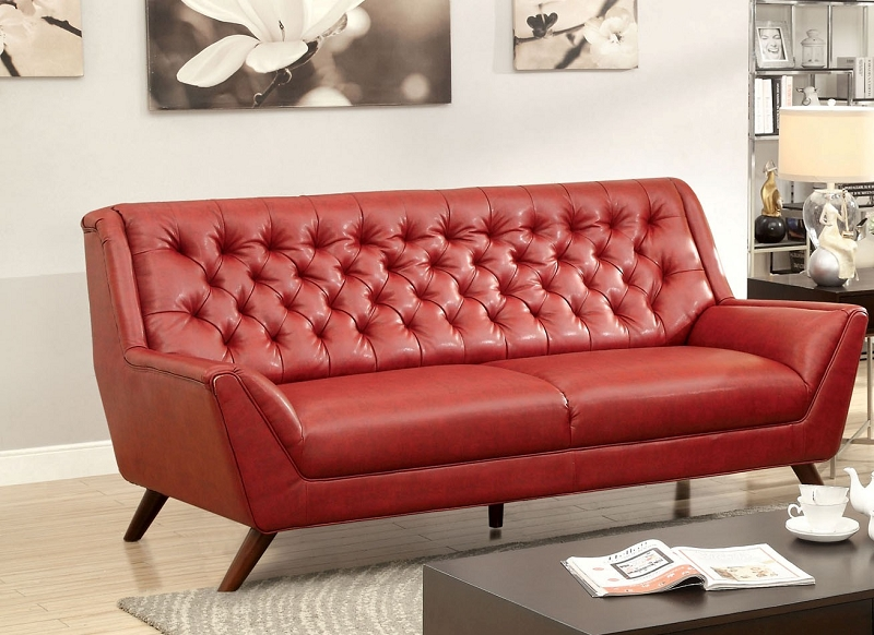 RED BONDED LEATHER BUTTON TUFTED SOFA