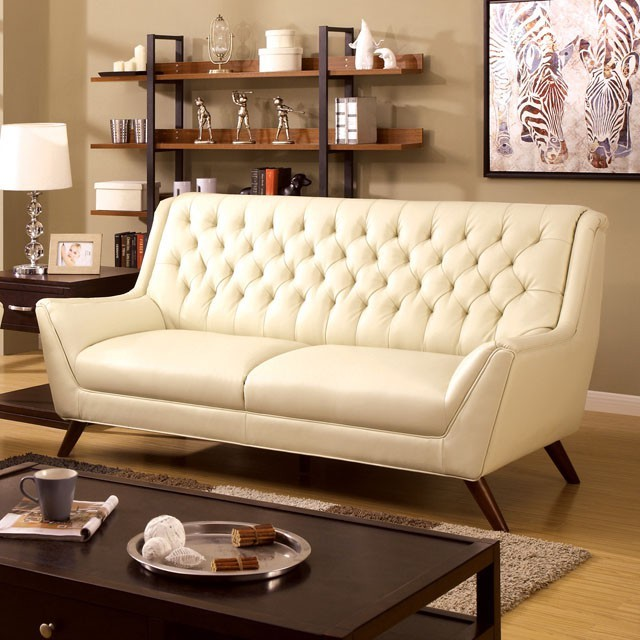 WHITE BONDED LEATHER BUTTON TUFTED SOFA