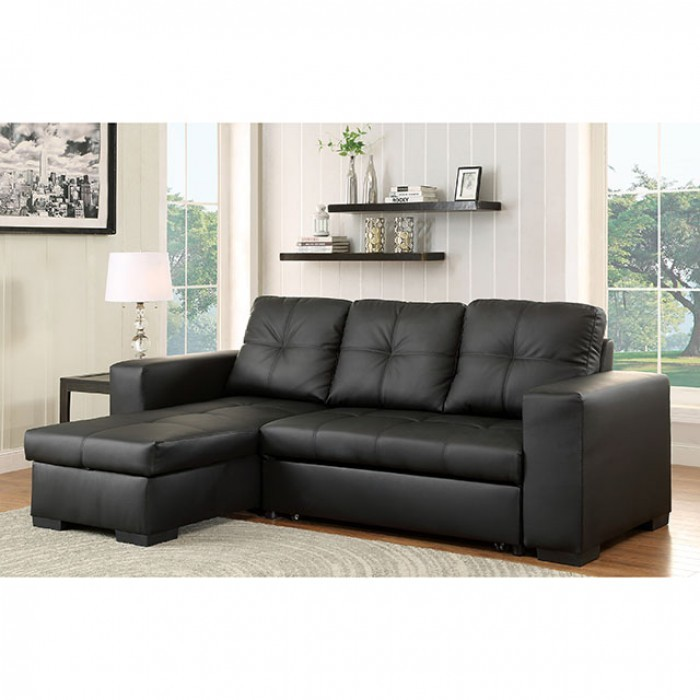 BRAND NEW  SECTIONAL W/STORAGE CHAISE AND SOFA BED, CM6149BK-LTR