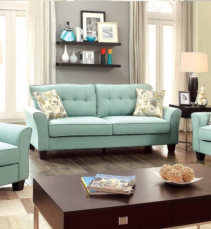 FURNITURE OF AMERICA, CLAIRE SOFA BLUE, CM6266BL-S