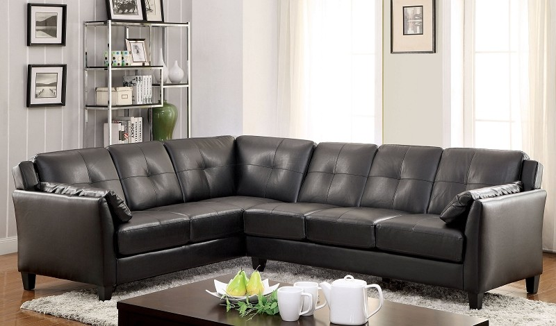 FURNITURE OF AMERICA PEEVER SECTIONAL IN BLACK, CM6268BK