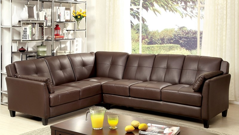 FURNITURE OF AMERICA PEEVER SECTIONAL IN BROWN, CM6268BR