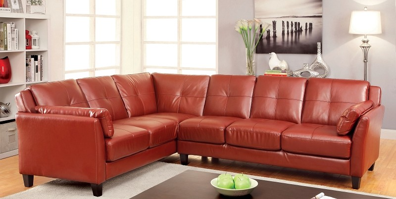 FURNITURE OF AMERICA, PEEVER SECTIONAL IN RED, CM6268RD