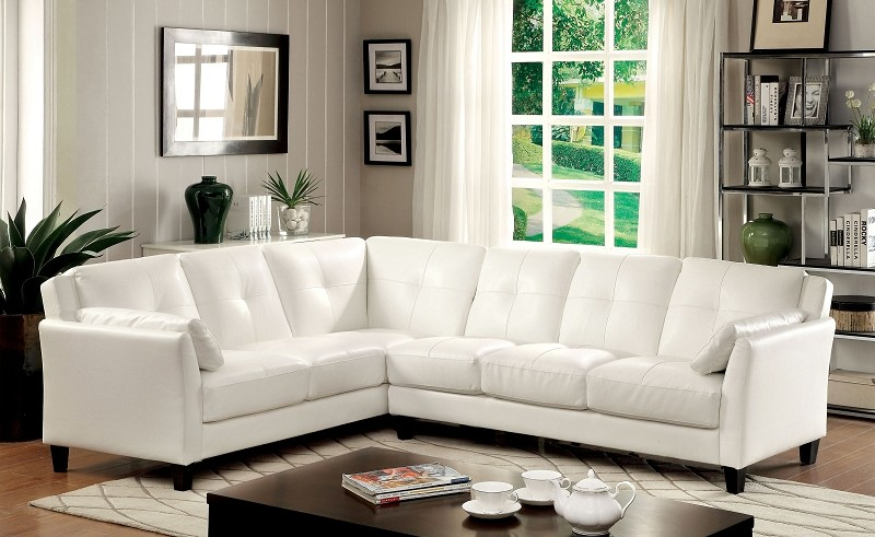FURNITURE OF AMERICA PEEVER SECTIONAL IN WHITE, CM6268WH