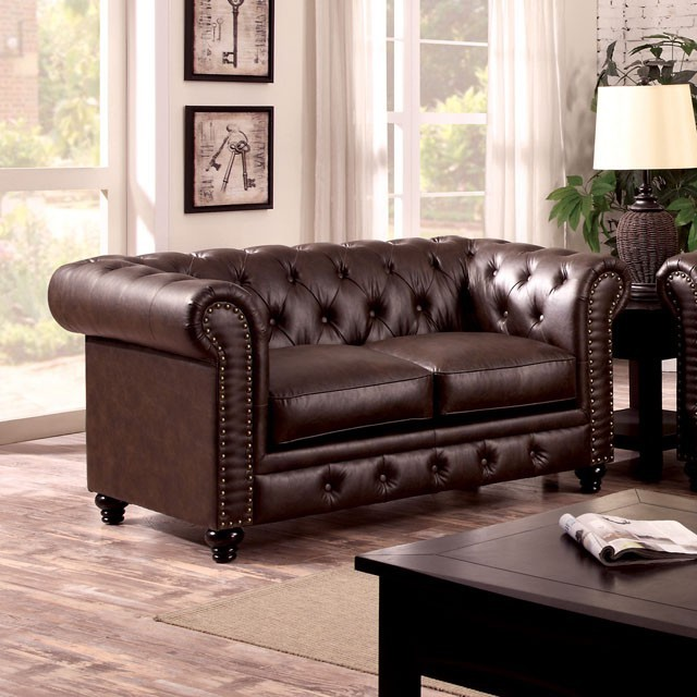 LOVE SEAT  BROWN LEATHERETTE