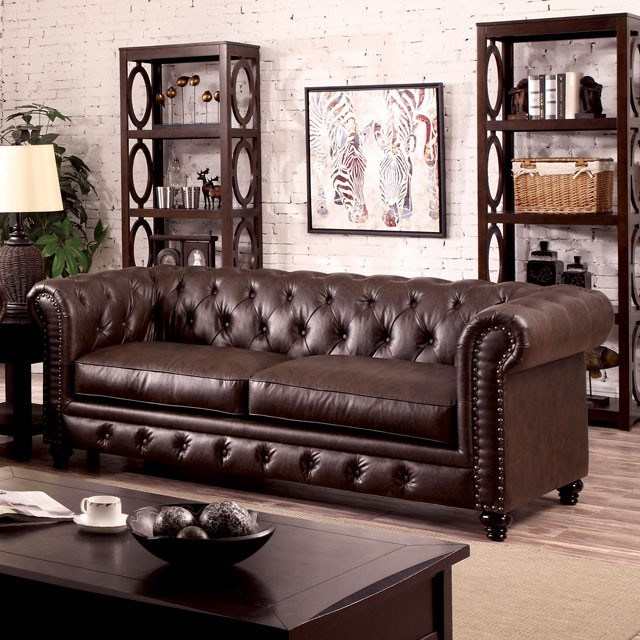 SOFA  BROWN LEATHERETTE
