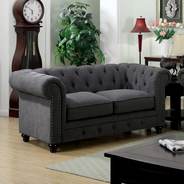 LOVE SEAT  GRAY FABRIC