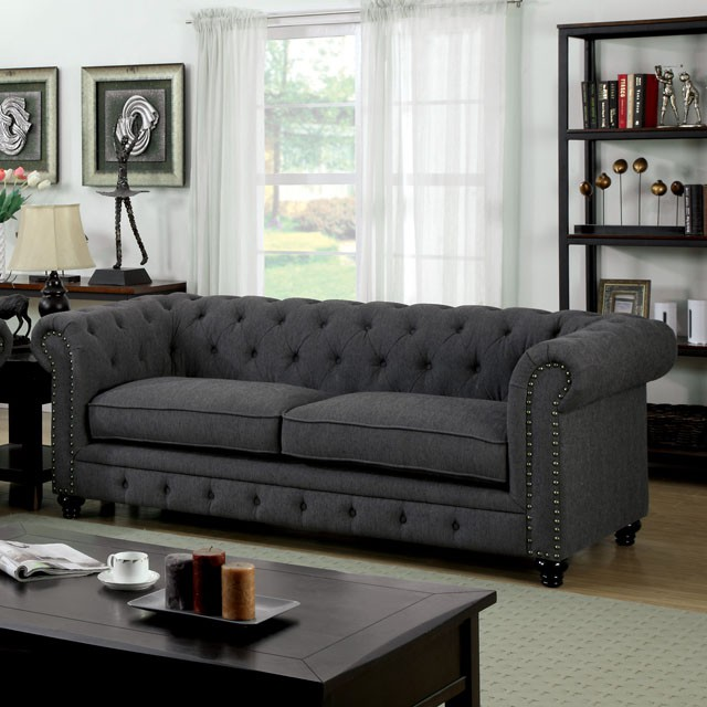 Furniture of america sofa gray fabric cm6269gy s for K furniture fabric world