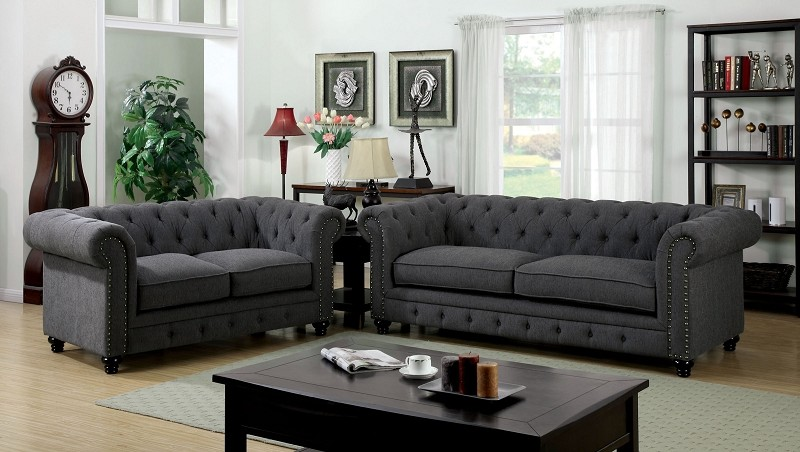 2 PCS SOFA SET GRAY FABRIC
