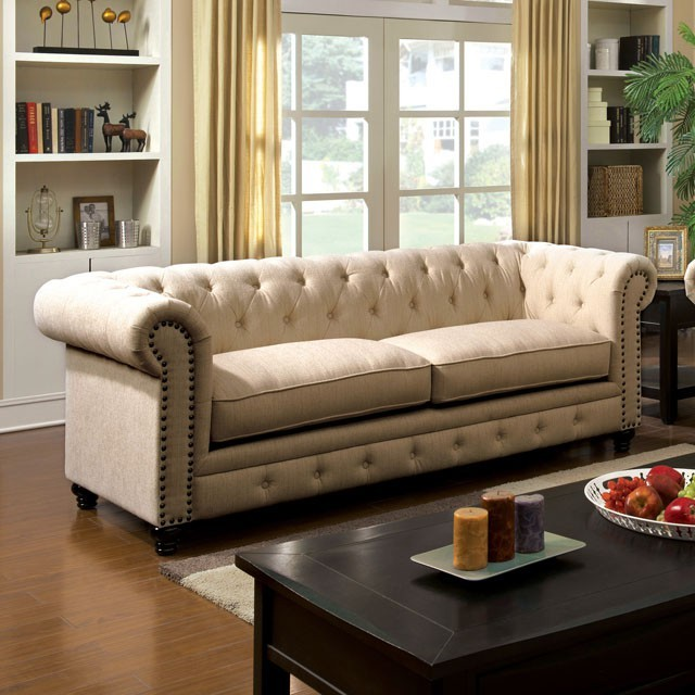 FURNITURE OF AMERICA,  SOFA  IVORY FABRIC,  CM6269IV-S