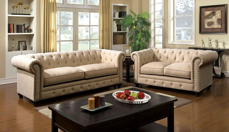 2 PCS SOFA SET IVORY FABRIC