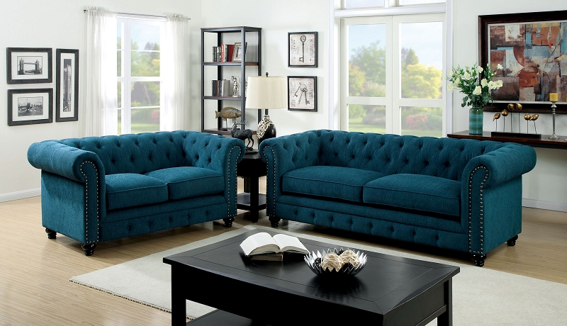 Dark Teal furniture of ameica, stanford 2 pcs sofa set dark teal, cm6269tl