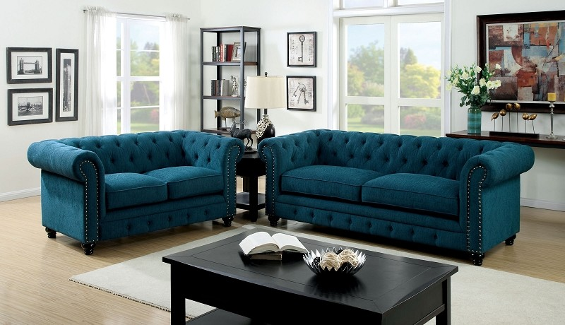 2 PCS SOFA SET DARK TEAL